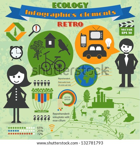 Vector retro set of infographic elements. Ecology theme. - stock vector