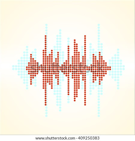 Vector retro sound wave. Halftone square vector elements. Music polygons waveform background. You can use in club, radio, pub, party, concerts, recitals or the audio technology advertising background. - stock vector