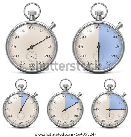 Vector Retro Stopwatch Set - stock vector