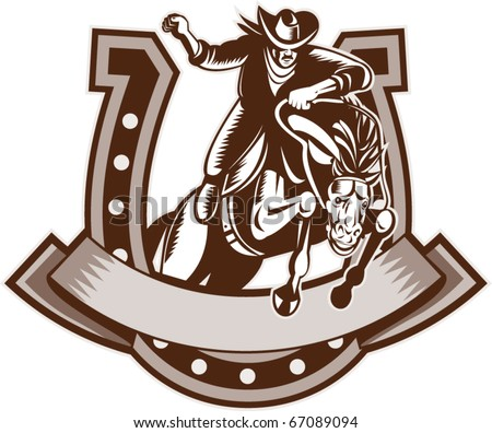 vector retro style illustration of a Rodeo Cowboy riding  a jumping bronco horse jumping with horseshoe in background and scroll in foreground done in woodcut. - stock vector