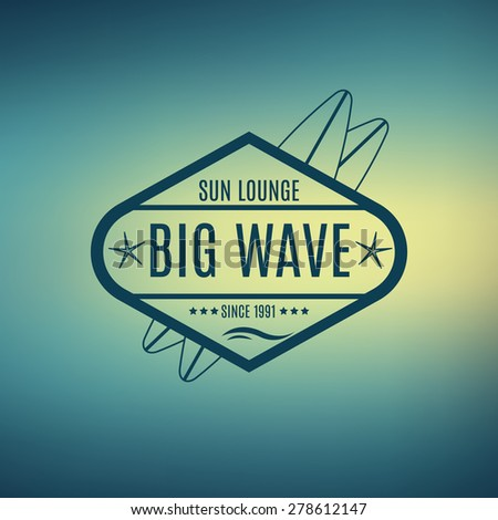 Vector Retro Style Surfing Labels, Logos or T-shirt Graphic Design Featuring Surfboards, for presentation, infographics, flyer, printing  etc. Good for Posters etc. - stock vector