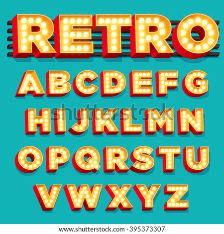 Vector Retro Theater Sign letters with Light bulbs - stock vector