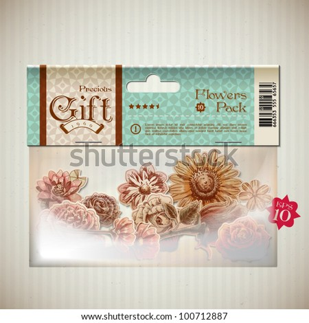 Vector Retro Transparent Plastic Pocket with Bunch of Flowers Graphics - stock vector