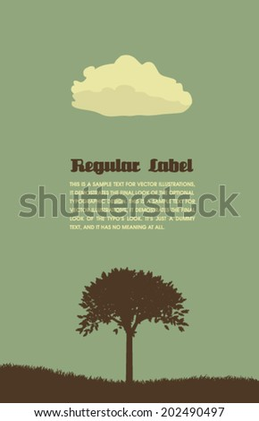 Vector Retro Tree and Cloud Design  - stock vector