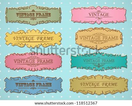 Vector retro vintage border frame. Set - stock vector