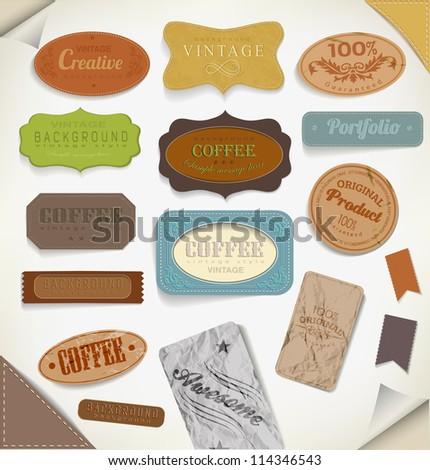 vector retro vintage label, old paper. - stock vector