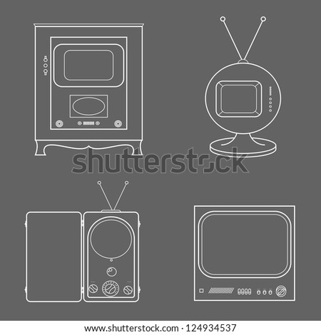 Vector retro vintage stylish tv set icons - stock vector