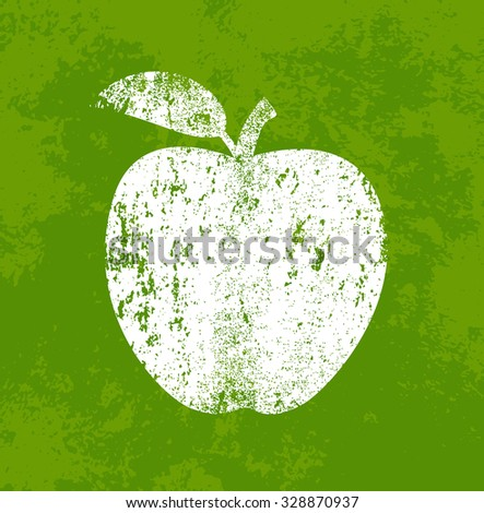 Vector retro weathered apple icon over old green grungy background - stock vector