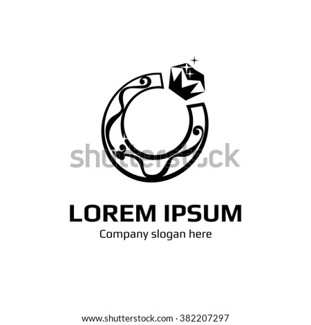 Vector ring / horseshoe-shaped mark. Logo. Business icon for the company. Jewelry with diamond glitter. Wedding / engagement day. Vector illustration. - stock vector