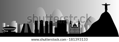 Vector Rio de Janeiro skyline with Jesus Redeemer - stock vector