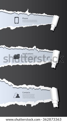 Vector ripped paper background with phone and computer icons. - stock vector