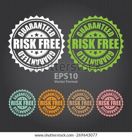vector : risk free guaranteed sticker, tag, sign, icon, label  - stock vector