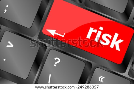 vector risk management keyboard key showing business insurance concept - stock vector