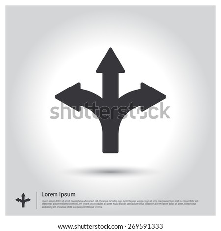 Vector Road Direction icon. Flat design style - stock vector