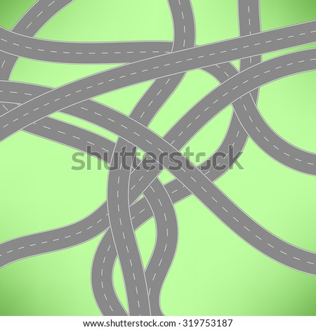 Vector Roads Icon on Green Background.  Road Concept.  - stock vector