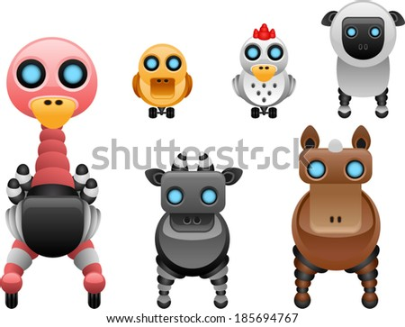 vector robot farm animals set 2 - Separate layers for easy editing - stock vector