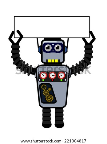 Vector robot holding an empty sign  - stock vector