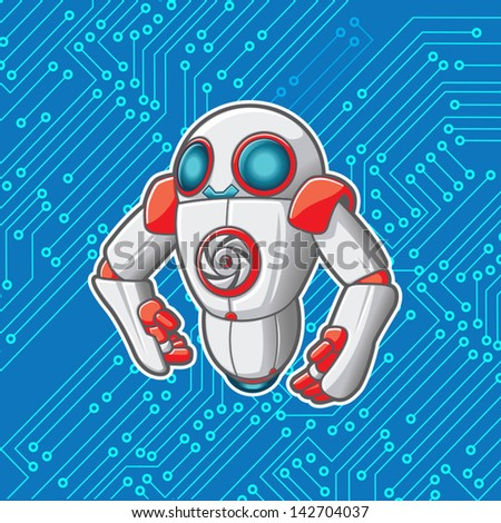 Vector robot with a microchip background. File is layered for editing. See portfolio for simular art. - stock vector