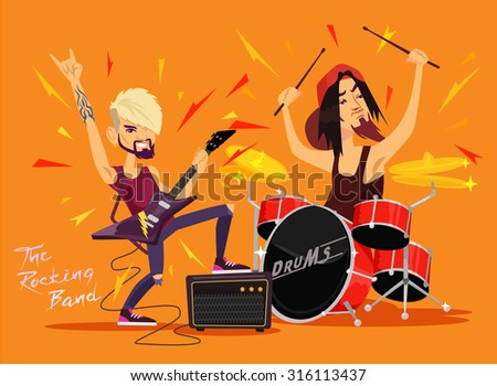 Vector rock band flat illustration - stock vector