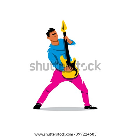 Vector Rock Guitarist Cartoon Illustration. Rock musician is playing electrical guitar. Branding Identity Corporate unusual Logo isolated on a white background - stock vector