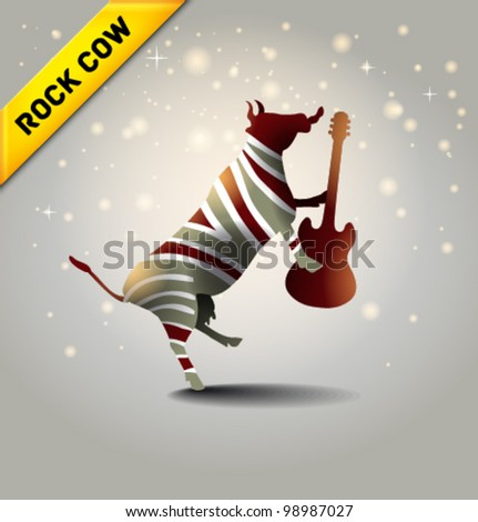 Vector rock-n-roll cow - stock vector