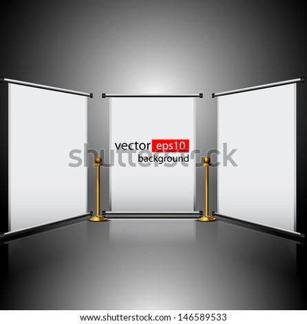 Vector roll up banner exhibition display   - stock vector