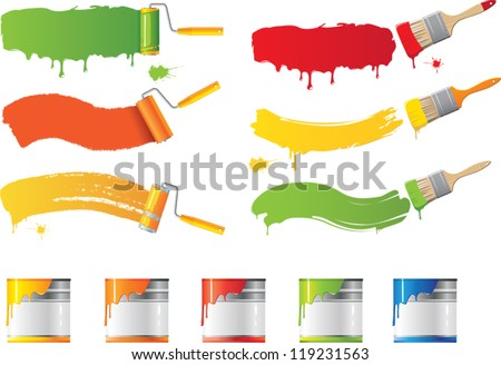 Vector roller and paint brushes with colors - stock vector
