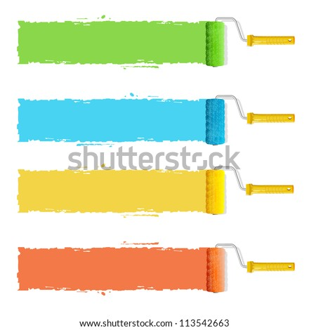Vector roller brushes with colors paint for text - stock vector