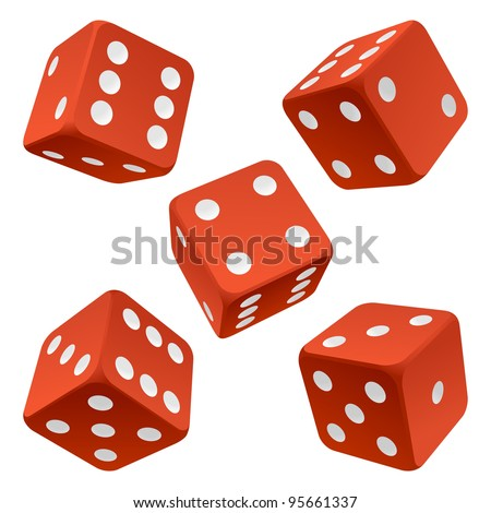 Vector rolling red dice set isolated on white background - stock vector