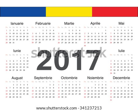 Vector Romanian circle calendar 2017. Week starts from Sunday. - stock ...