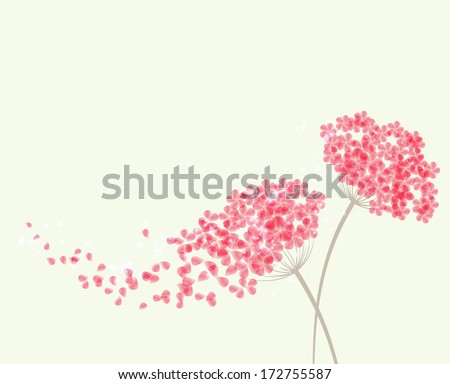Vector Romantic background with flowers hydrangea - stock vector