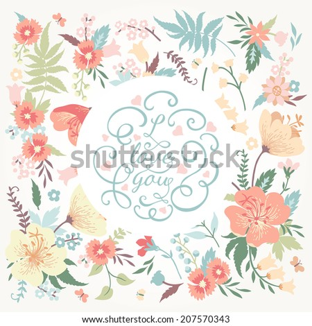 Vector romantic card with cute flowers and place for your text in pastel colors. - stock vector