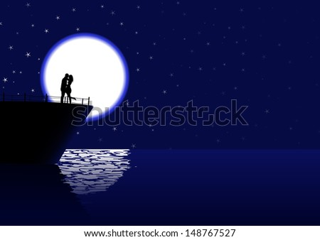 vector romantic couple silhouette on the cruiser in the night, eps10 file, transparency used, raster version available - stock vector