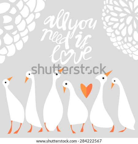 Vector romantic goose set cute birds card template background - stock vector