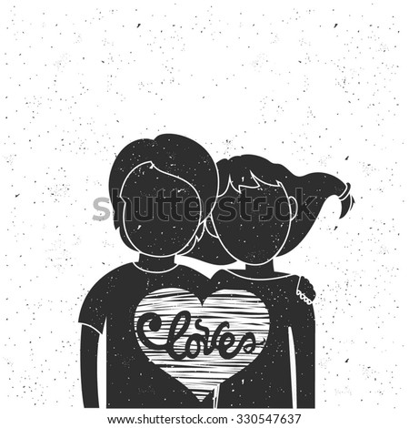 Vector romantic hipster typography poster with lettering - love. Young man, woman silhouettes in big heart inside. Cute hand drawn style Valentine's day greeting card, home decoration, t-shirt print - stock vector
