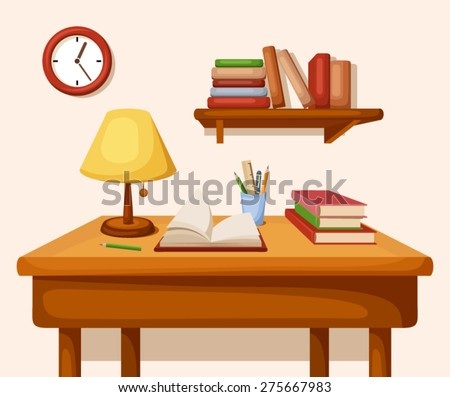 Vector room interior with table with books and lamp on it, shelf with books and clock. - stock vector