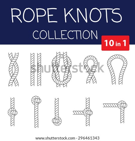 Vector rope knots collection. Overhand, figure of eight and square knot. Seamless decorative elements - stock vector