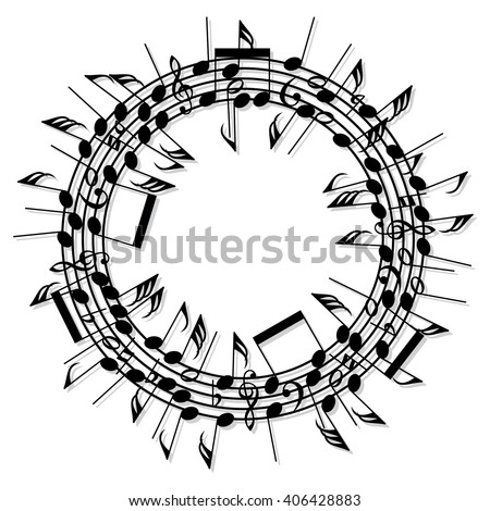 vector round background of music notes - stock vector