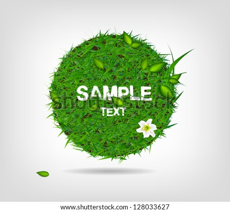 Vector round badge / banner of green grass with leaves and a lily flower - stock vector