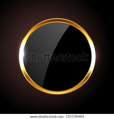 Vector round black glossy label / banner / frame with golden border - stock vector