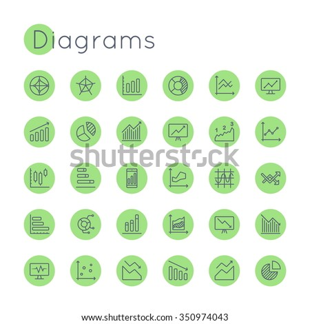 Vector Round Diagrams Icons - stock vector