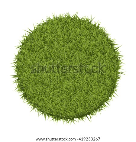 Vector round field of green grass. Isolated On White Background - stock vector