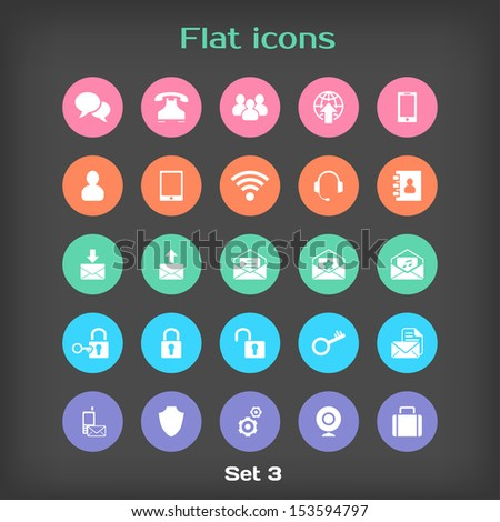 Vector Round Flat Icon Set #3 in Color Variation - stock vector