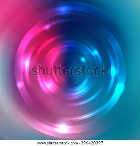 Vector round frame. Shining circle banner. Glowing spiral. Vector illustration, Pink, blue colors.  - stock vector