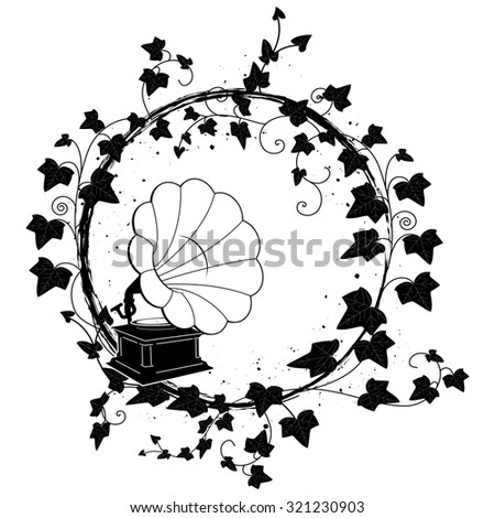 vector round frame with branch of ivy and gramophone - stock vector