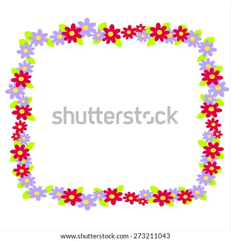 Vector round frame with flowers on white background. - stock vector