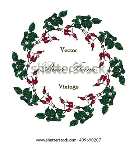 Vector round frame with the briar (brier). Vector colored red & green eglantine frame. Vintage template card. Save the date vector circular illustration. - stock vector