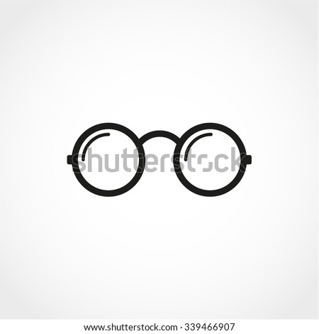 Vector Round Glasses Icon Isolated on White Background - stock vector