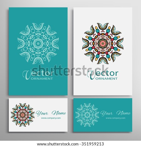 Vector round ornaments collection with mandala circular pattern, business cards set. Decorative elements for logo, icon or invitation card design. Isolated tribal ethnic motif - stock vector