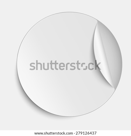 Vector round paper sticker on white background - stock vector